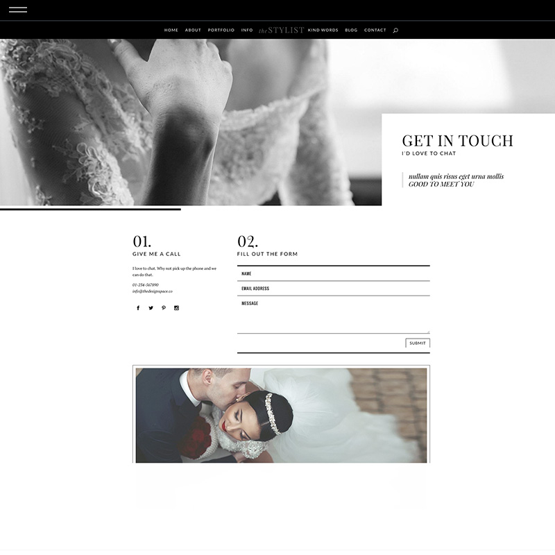 Stylist divi product contact the design for Design space co